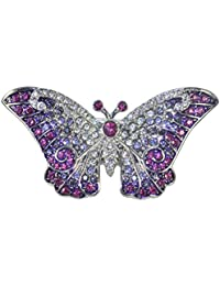 Gyn&Joy Women's Austrian Crystal Purple Butterfly Brooch BZ297