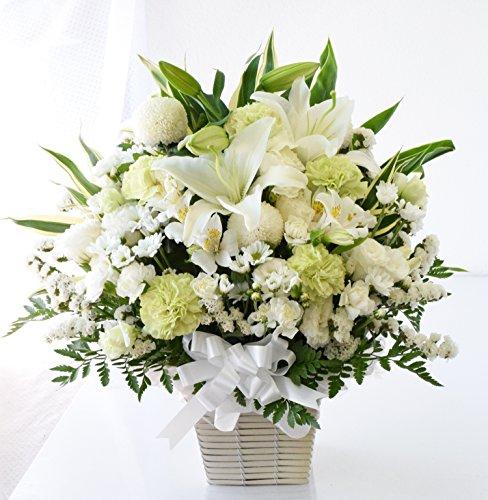 花由 お供え生花アレンジメント ユリ入りMサイズ アレンジ白のみ マケプレプライム便