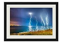 ライトニングストーム海 風景の写真木製黒額縁アートポスター(40cmx60cm)