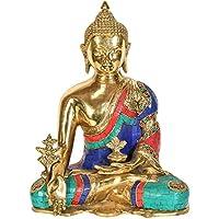 チベット仏教Deity Medicine Buddha – 真鍮with Inlay Statue