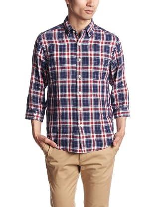 Linen Check 7/10 Sleeve Buttondown Shirt 3216-166-0614: Navy