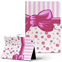 igcase arrows Tab F-02K FUJITSU 富士通 アローズタブ タブレット 手帳型 タブレットケース タブレットカバー カバー レザー ケース 手帳タイプ フリップ ダイアリー 二つ折り 002431 ラブリー リボン ボーダー ピンク