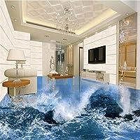 Ljjlm カスタム大型壁画3D波海水屋内床肥厚防水服ポリ塩化ビニール環境プラスチックフィルム-200X140CM