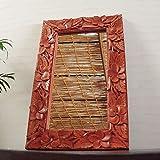 アジアン・バリ雑貨・バリウッド・baliwood:ハイビスカス&プルメリアの彫刻たっぷりの木製オシャレミラー!ブラウンMサイズ