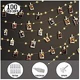 ストリングライト KING DO WAY 自由に調整可能な写真クリップ50枚付き 暖かい光 お祝いDIY壁飾り イルミネーションランプ (10M 100LED球 USB充電式)