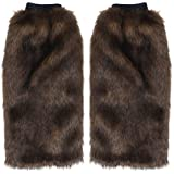 Toyvian 40cm Faux Fur Leg Warmer Furry Cuffs Boot Covers for Women Girls Brown