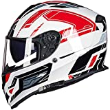 Fashion ABS Outdoor Motorcycle Riding Full-Covering Helmet Double Lens Four Seasons Universal Off-Road Helmet Fashion Graffiti Full Face Helmet Pretty (Color : White, Size : L)