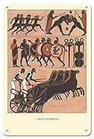 22cm x 30cmヴィンテージハワイアンティンサイン - オリンピックの象形文字 - ビンテージなオリンピック大会のポスター