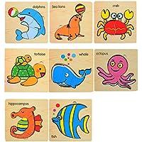 パズルゲーム子供のための8 PCS子供の木製パズル[水生生物]