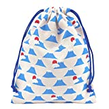 手作り 和柄 巾着袋 白×富士山 和小物 和雑貨 和風小物