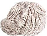 お洒落 つば付き ケーブル編み ニット帽 レディース (2.アイボリー)