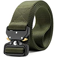 iZiv Men's Tactical Belt Heavy Duty Webbing Belt Adjustable Military Style Nylon Belts Zinc Alloy Buckle