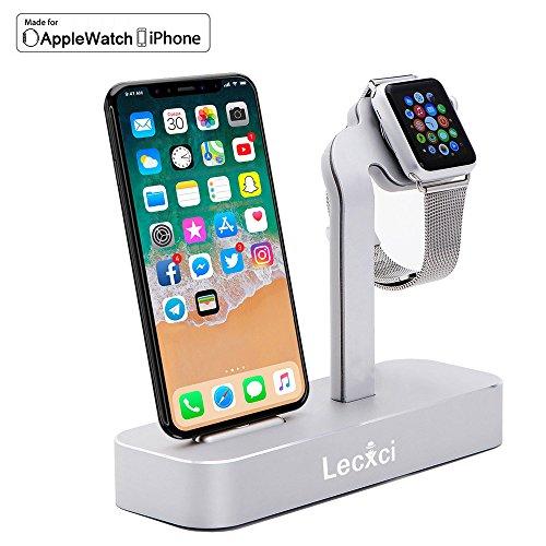 Lecxci 【Apple Watch・iPhone 対応】充電スタンド 充電クレードル 2in1充電スタンド アルミニウム材質 卓上 ステーション Apple Watch Series 3/2/1、iPhone X、iPhone8/8 Plus、iPhone7/7 Plus など対応 (シルバー)