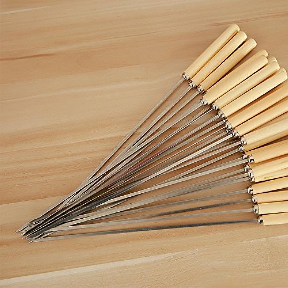 閃光取り付け土砂降り焼き串 BBQフォーク シュラスコ ステンレス鋼の金属の串 木柄 バーベキュー道具  バーベキュー串 バーベキュー用 スキュアー 50本セット