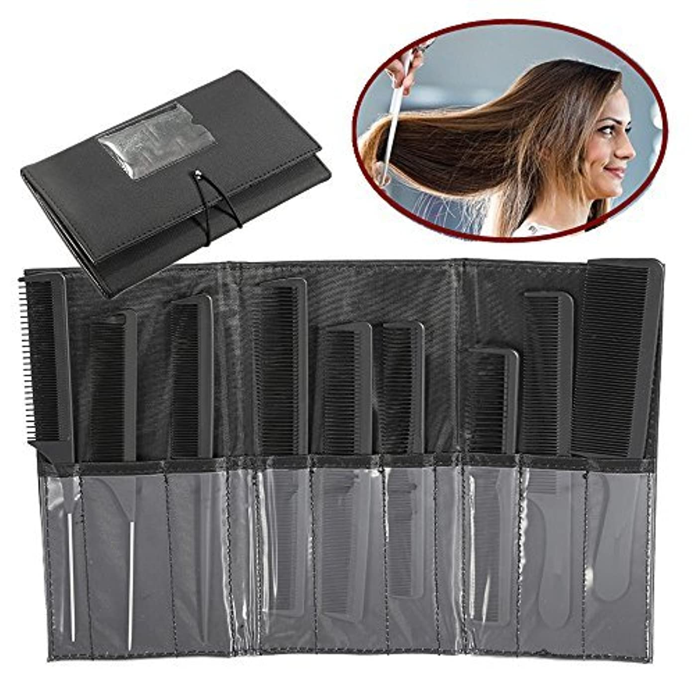 組依存する聖歌ZJchao Professional Styling Comb Set, 9Pcs Salon Hairdressing Kits, Metal Pintail Teaser/Sharp Tail/Wide Tooth...