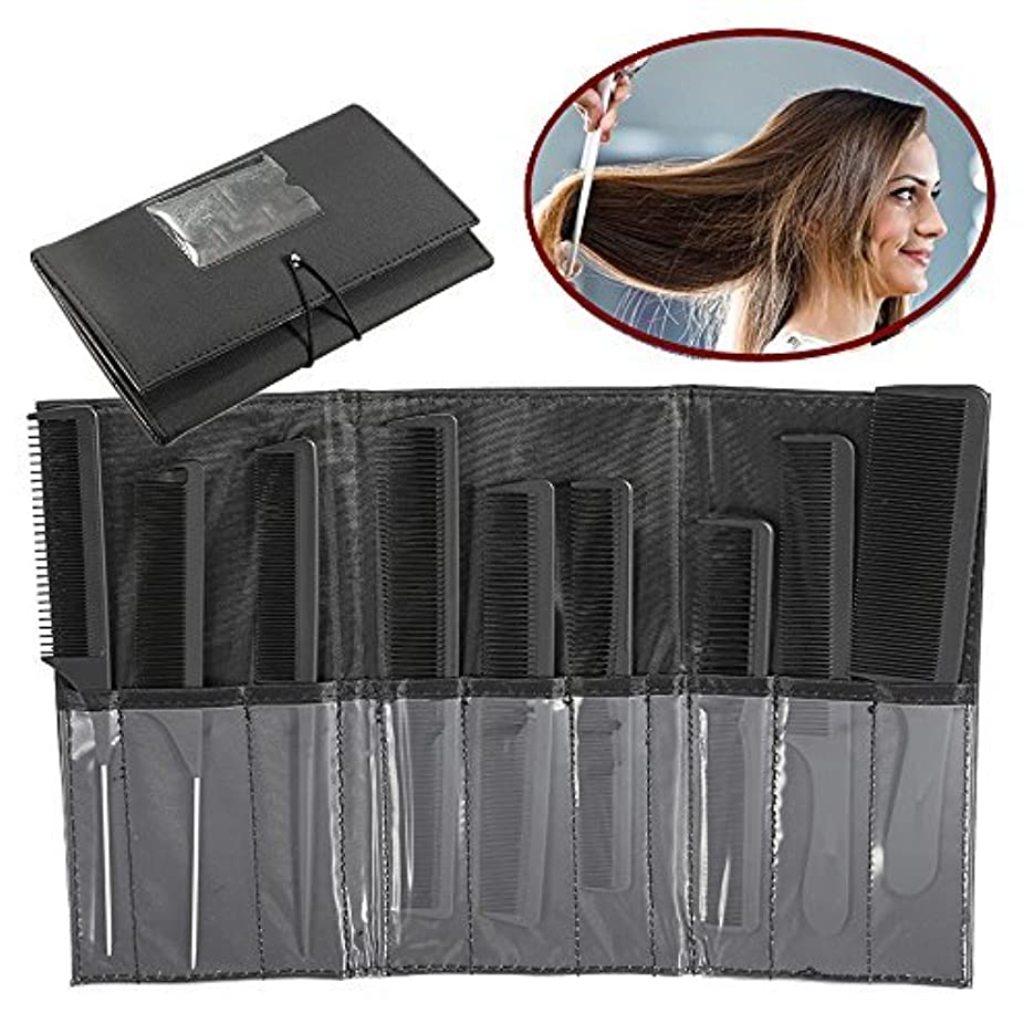 肉のギャラントリーコピーZJchao Professional Styling Comb Set, 9Pcs Salon Hairdressing Kits, Metal Pintail Teaser/Sharp Tail/Wide Tooth...