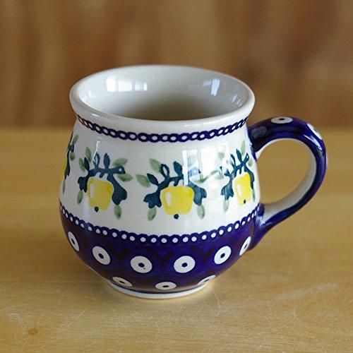 ポーリッシュポタリー (ポーランド食器) ボレスワヴィエツ 陶器(BOLESLAWIEC) マグ マグカップ S 200ml コーヒーカップ ティーカップ りんご柄 木の実 フルーツ 黄色 K67-ALC98