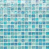 (ノスタルジア) マリンブルーグラス( 水色 ガラス モザイクタイル シート 20mm角 )小口出荷(1シート)