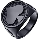 Jewelry Stainless Steel Black Plating Ace of Spades High Polished Gothic Biker Tribe for Men's Rings,Black,7