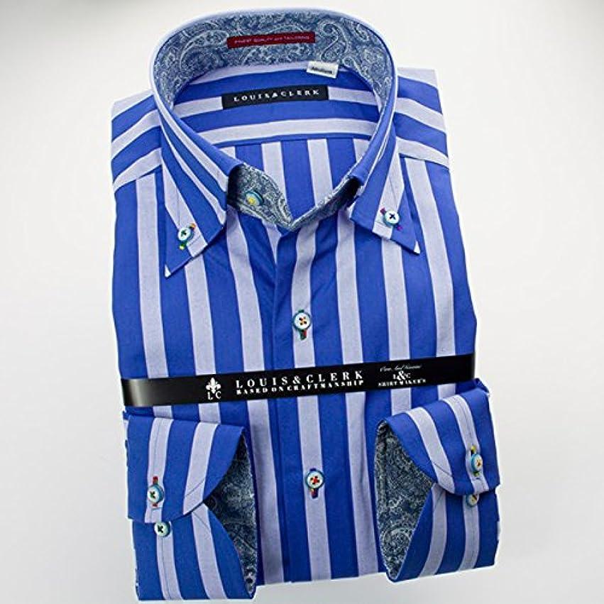 アラスカ名前を作る現代RHD135-004-0103-S (ルイス&クラーク) メンズ長袖ワイシャツ 青 ストライプ | 青/S