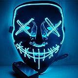 HOLIKE Halloween Purge Mask LED Light up Scary Glowing Mask Festival Cosplay Halloween Costume