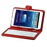 Ployer MOMO7W ケース【選べる4色】【IVSO®】 Ployer MOMO7W (7インチ タブレット兼用)キーボード付きケースmicroUSB 端子 接続のキーボード PUレザーケース内蔵型 薄くて軽い スタンド付き 東芝TOSHIBA Tablet AT7-B618, 原道 N70S, 原道 N70 3G,Lenovo IdeaPad Tablet A1, Letine LT701A, ASUS Nexus7 ( 2013 ),ASUS Memo Pad 7 ME572C / ME572CL, ASUS ME173, ASUS ME176, ASUS ME170, Huawei MediaPad 7 Liteなど7インチAndroid/ WindowsタブレットPC兼用 (レッド)