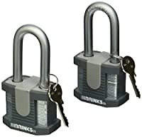 "Brinks Home Security Commercial 50MM Solid Steel Lock with 2"" Boron Shackle - 2-Pack [並行輸入品]"