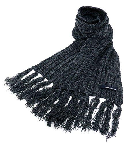 (ハングオーバー) HANG OVER マフラー メンズ リブ編み 無地 ロングマフラー フリンジ 3color Free ブラック
