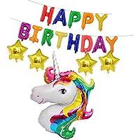 Prettyia バルーンバナー バルーン 風船 バナー Happy Birthday 星 ユニコーン 誕生日  パーティー おもちゃ 子供 プレゼント ロマンチック 3色選べる - マルチ