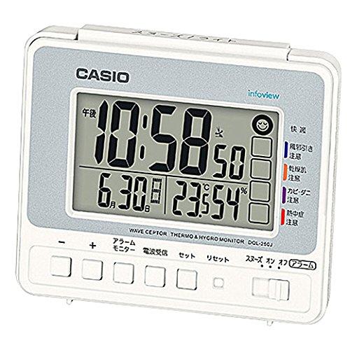 デジタル生活環境お知らせ電波目覚まし時計 日付表示 温・湿度表示付 DQL-250J-8JF