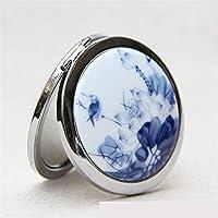 HuaQingPiJu-JP ミニラウンドポータブルブルーバードパターンセラミックス鏡サークルクラフト装飾化粧品アクセサリー