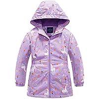 Sowllars Girls Rain Jacket, Windbreaker Kids Raincoat Waterproof Zip Jacket with Fleece Liner
