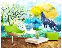 FFYYJJLEI 3D壁紙オリジナルの美しい芸術的な概念の絵画鹿のオオカミの背景の壁の絵画-カスタムサイズ