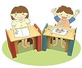 森井紙器 段ボール工作シリーズ 子供専用 ダンボールの机&イス ブルー 画像