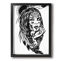 女 インデアン ブラックキャンバス絵画 超薄型 額入り(30cm*40cm) インテリア アートポスター 油絵 写真 現代絵画 壁飾り 壁掛け 風景 自然 動植物 玄関 木製の枠 贈り物