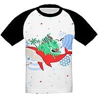 サメ かっこいい ベビー フロントプリント半袖 Tシャツ快適 子供 夏 トップ おもしろい 上着