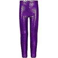 Janisramone Girls Kids New Mermaid Fish Scale Holographic Slim Fit Metallic Leggings Skinny Disco Trousers