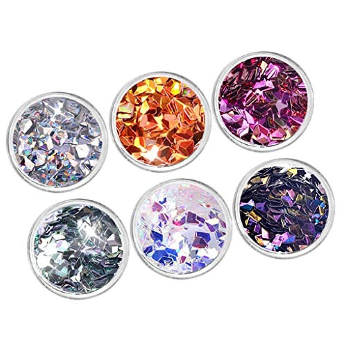 豆腐ヒロイン抽象化DYNWAVE 6箱ネイルアートキラキラスパンコールダイヤモンドフレークホログラフィック3Dデコレーション - ダイヤモンド