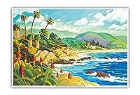 ラグナビーチとの愛 - カリフォルニア - シーサイドオーシャンビュー - オリジナルの水彩画からのもの によって作成された ロビン アルトマン - アートポスター - 33cm x 48cm