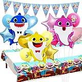 ベビーシャークパーティー飾り付け サメ 海 カラフル 動物 可愛い 男の子 子供 三角バナー アルミバルーン 風船 テーブルクロス 部屋 装飾
