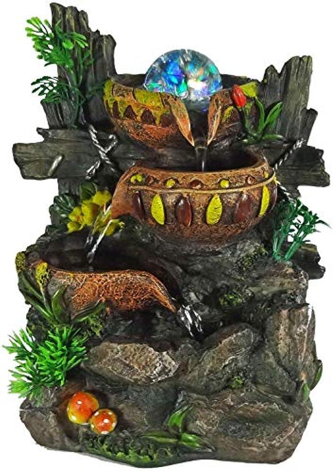 ハブ狐なに屋内滝の泉、LEDライト付き噴水ポンプ、樹脂セレニティファミリー家具ギフト,Natural