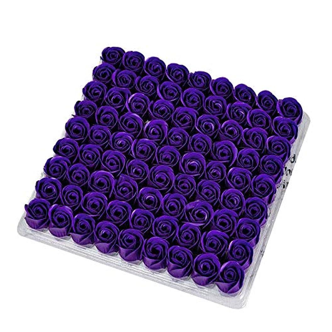 ゴールド慣れている栄養SODIAL 81個の薔薇、バス ボディ フラワー?フローラルの石けん 香りのよいローズフラワー エッセンシャルオイル フローラルのお客様への石鹸 ウェディング、パーティー、バレンタインデーの贈り物、紫色