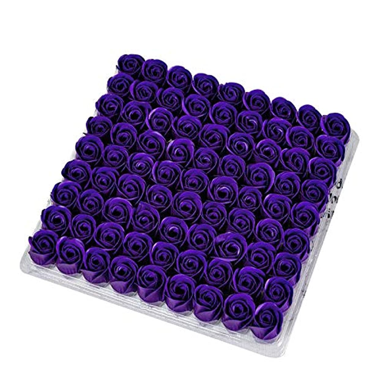 返還淡い凶暴なGaoominy 81個の薔薇、バス ボディ フラワー?フローラルの石けん 香りのよいローズフラワー エッセンシャルオイル フローラルのお客様への石鹸 ウェディング、パーティー、バレンタインデーの贈り物、紫色