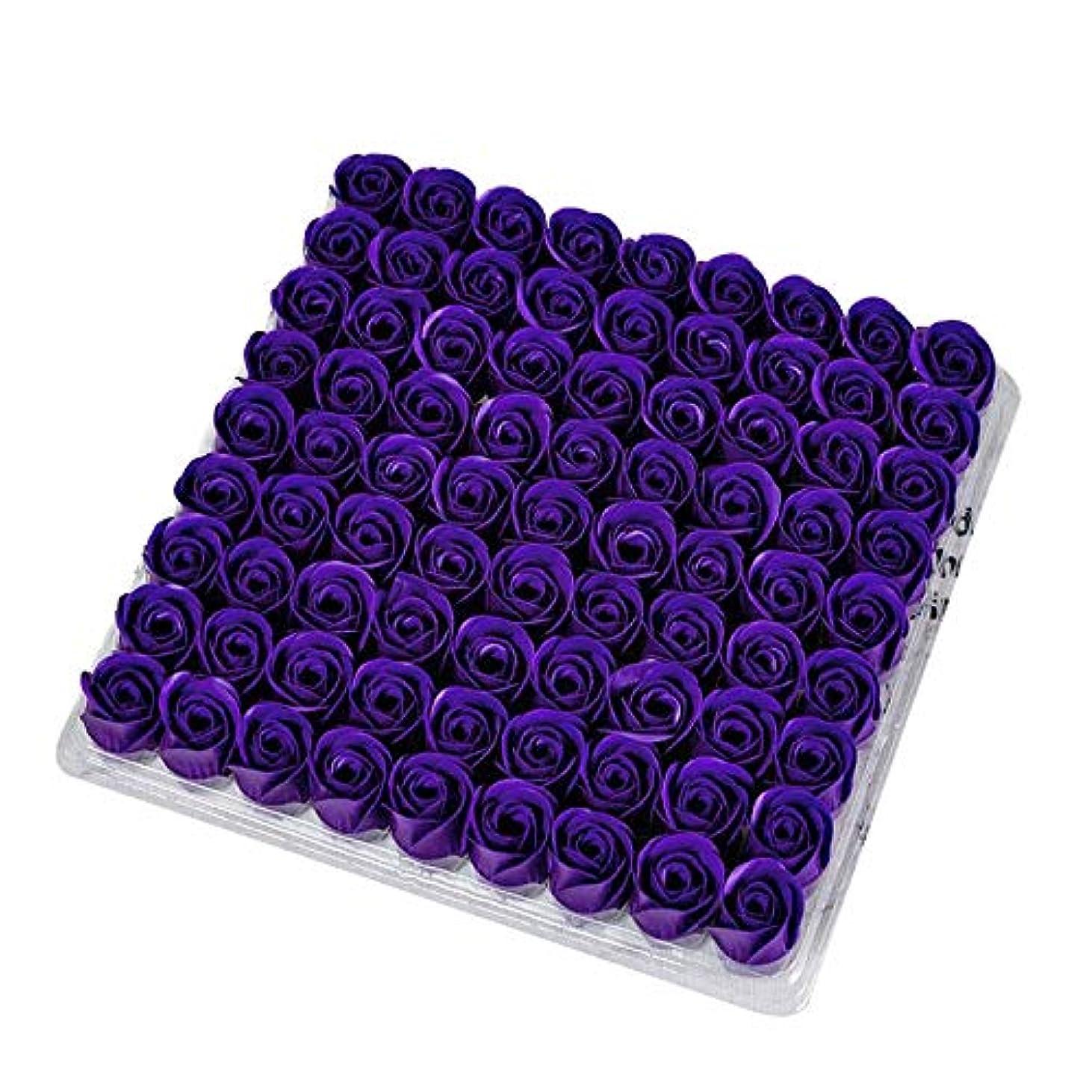かどうかナプキン勢いSODIAL 81個の薔薇、バス ボディ フラワー?フローラルの石けん 香りのよいローズフラワー エッセンシャルオイル フローラルのお客様への石鹸 ウェディング、パーティー、バレンタインデーの贈り物、紫色