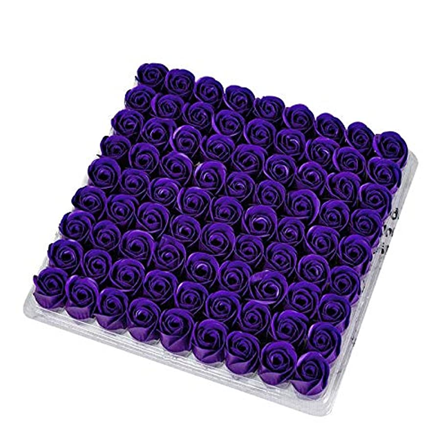 デクリメントシチリア扱いやすいSODIAL 81個の薔薇、バス ボディ フラワー?フローラルの石けん 香りのよいローズフラワー エッセンシャルオイル フローラルのお客様への石鹸 ウェディング、パーティー、バレンタインデーの贈り物、紫色