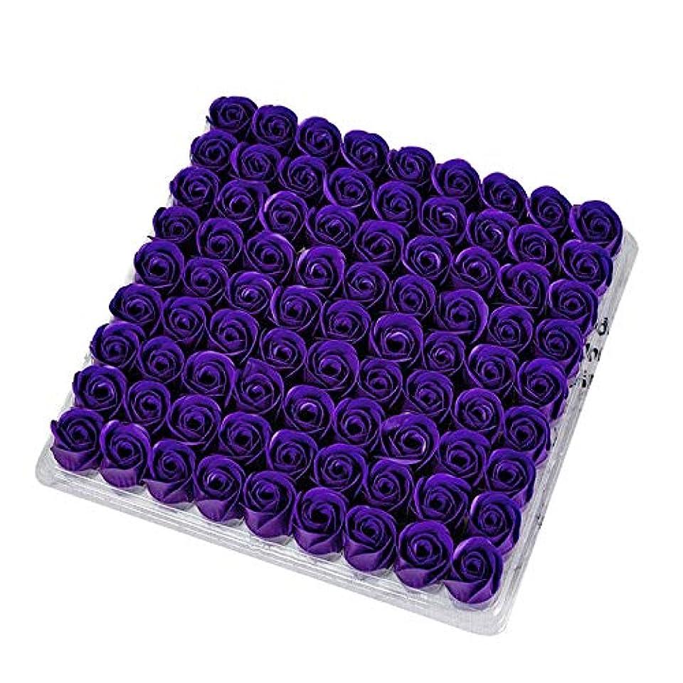 本物彫るアイデアSODIAL 81個の薔薇、バス ボディ フラワー?フローラルの石けん 香りのよいローズフラワー エッセンシャルオイル フローラルのお客様への石鹸 ウェディング、パーティー、バレンタインデーの贈り物、紫色