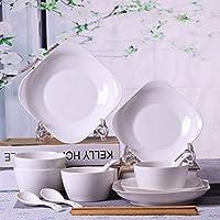 純粋な白骨セラミックボウルシンプルクリエイティブ食器4人ボウルホーム (Color : A)
