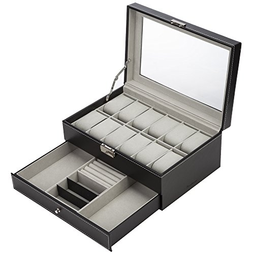 Readaeer® 腕時計収納ケース 腕時計収納ボックス 2段式 12本用 アクセサリー収納兼用 (ブラック)