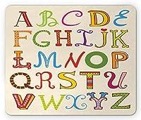 ABC教室マウスパッド、カラフルなスタイルの教育研究書道の大文字のアルファベット、標準サイズの長方形の滑り止めゴムマウスパッド、多色