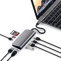 Satechi アルミニウム Type-C マルチメディアアダプター 4K HDMI, mini DisplayPort, USB-C PD, ギガビットイーサネット, USB 3.0, Micro/SDカードスロット (スペースグレイ)